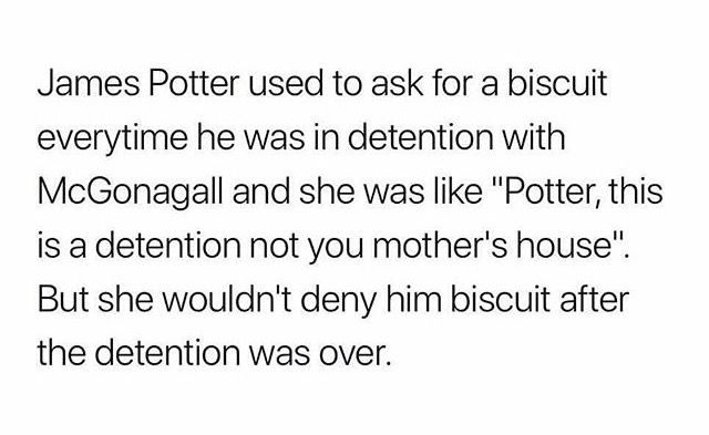 "Oh my god, thats why McGonagall said ""Potter, have a biscuit"" in the OotP. This is huge. I'm gonna go cry now."