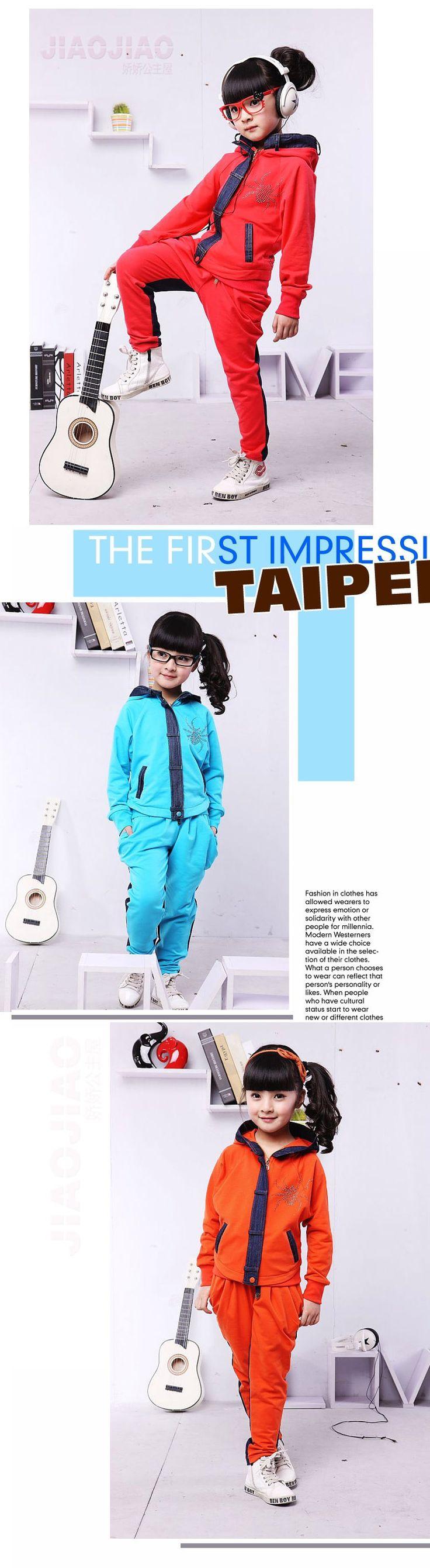2015 новинка мода детская одежда комплект девочек джинсовой лоскутное пальто + брюки спортивный костюм детский весна осень спорт толстовка костюм, принадлежащий категории Комплекты одежды и относящийся к Детские товары на сайте AliExpress.com | Alibaba Group