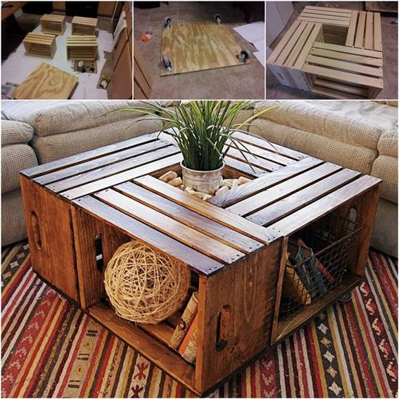 How To DIY Coffee Table from Recycled Wine Crates | iCreativeIdeas.com Like Us on Facebook ==> https://www.facebook.com/icreativeideas