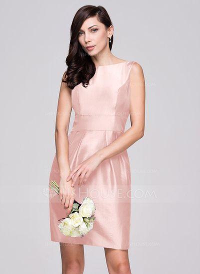 Sheath/Column Scoop Neck Knee-Length Taffeta Bridesmaid Dress With Ruffle Bow(s) (007060607)