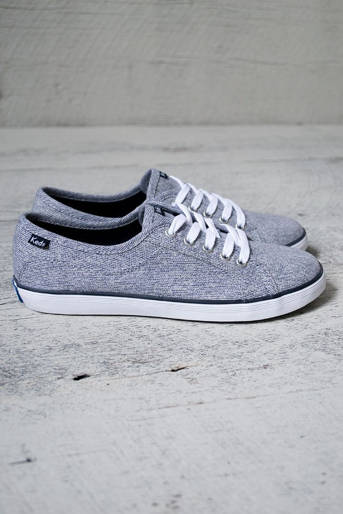 Adorable lace up canvas Keds with heathered navy color. 5 eyelets with a comfortable fit. Wear these with any outfit. Love them!