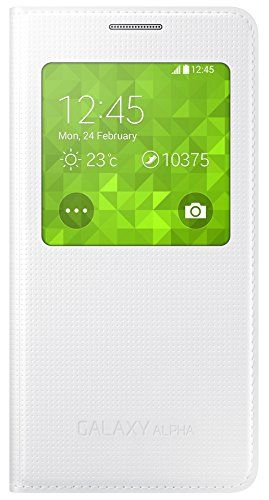 From 3.21 Samsung  S-view Case Cover For Samsung Galaxy Alpha - White