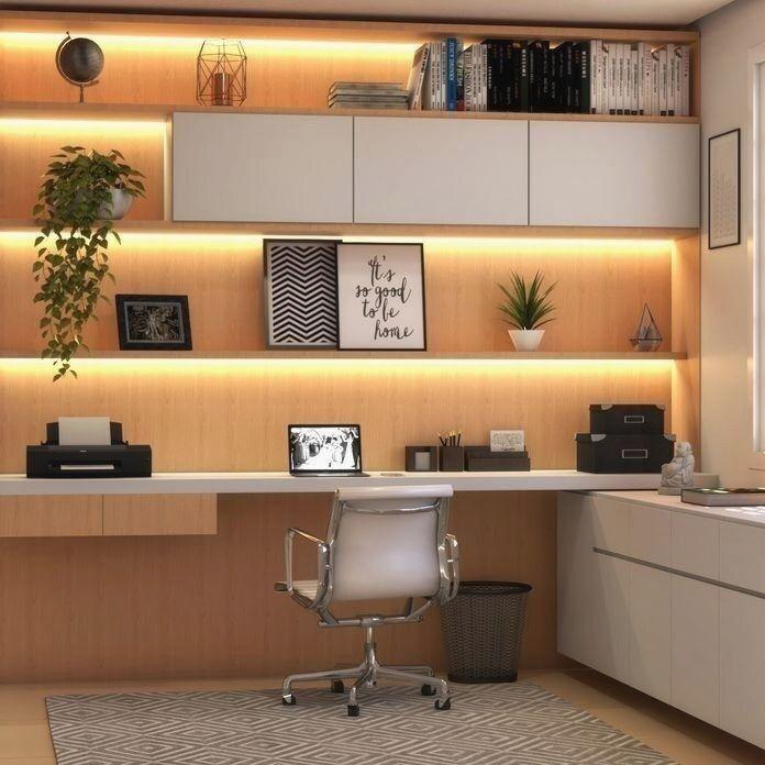Dekoriertes Home Office Bucherregal Mit Beleuchtung Von Gislainemarcelino 2020 Ic Tasarim Ofisler Ev Ofisi Ev Ic Tasarimi