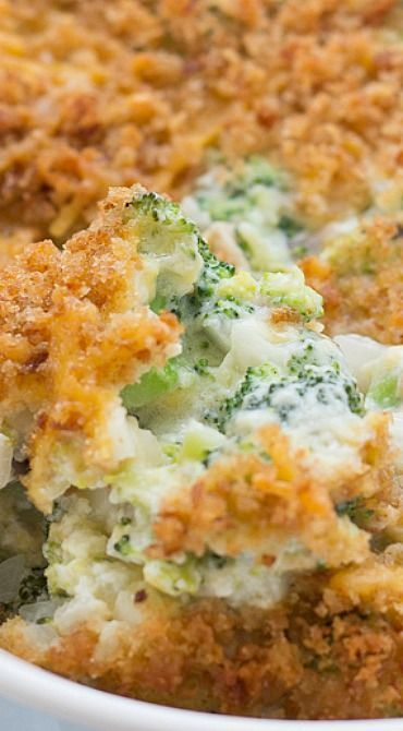 Broccoli Casserole from Scratch ~ Made completely from scratch, this broccoli casserole is filled with fresh broccoli, mushrooms, cheddar cheese, and a homemade cream sauce. A buttery, cheesy breadcrumb topping adds a crispy finishing touch to this classic dish.