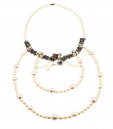Handmade bronze metal plated necklace with Swarovski crystals, Swarovski strasses and pearls, by Art Wear Dimitriadis