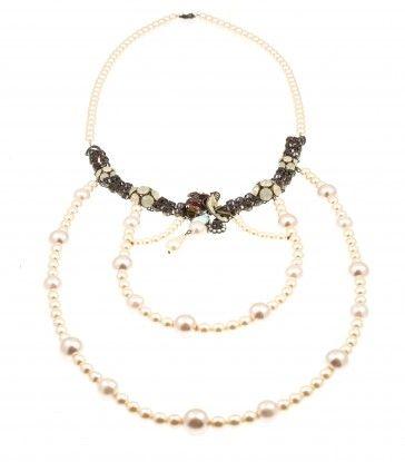 Handmade bronze metal plated necklace with Swarovski crystals, Swarovski strasses and pearls, by Art Wear Dimitriadis