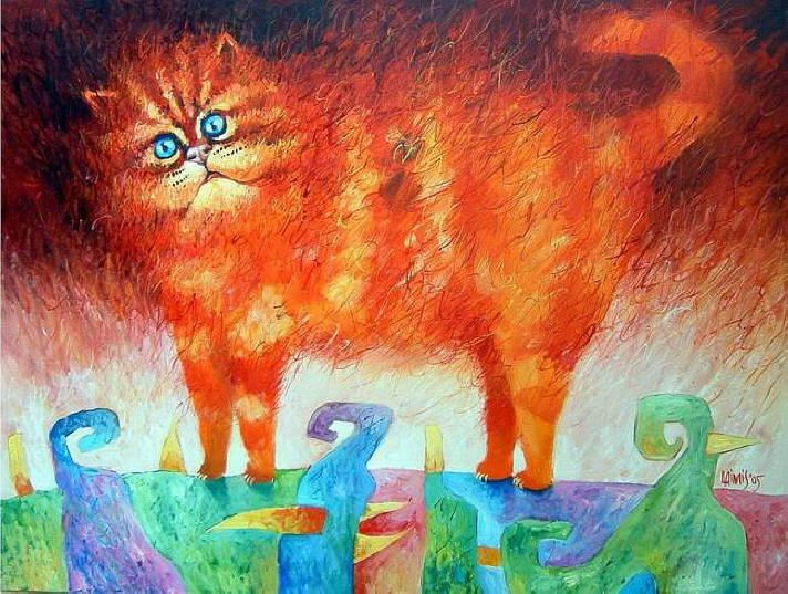 Orange cat paintings. Laimonas Smergelis - Blue Eyes