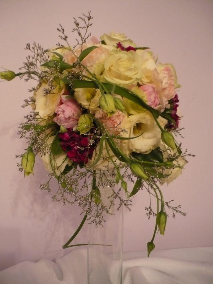 Bukiet - eustoma, róża, goździk, limonium, trawa