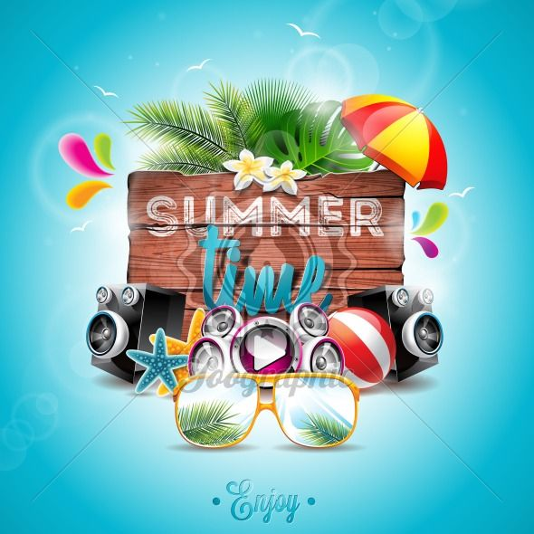 Vector Summer Time Holiday typographic illustration on vintage wood background. Tropical plants, flower, music elements, beach ball and sunshade. - Royalty Free Vector Illustration