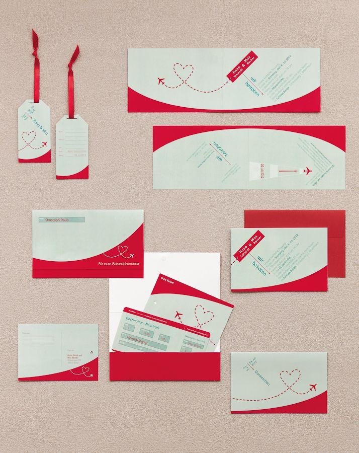 Hochzeits-Papeterieserie zum Thema Reise und Flugzeug in Türkis und Rot – turquoise and red travel themed wedding stationary – www.weddingstyle.de