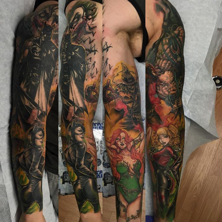 Batman Arm Sleeve Tattoo
