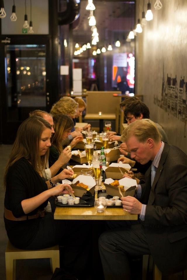 people savoring bia mara seafood delicacies