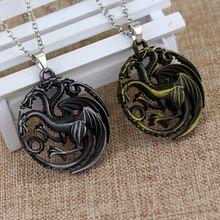 Juego de tronos Daenerys Targaryen tres cabezas de dragón aleación colgante de collar de regalo para los aficionados película de joyas envío gratis(China (Mainland))