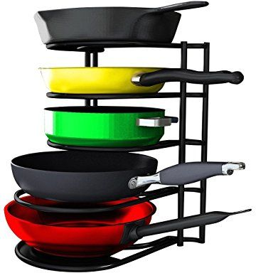 #1 Premium Heavy Duty Pan Organizer - Bottom Tier 1 Inch Taller for Larger Pans - No Assembly Required - Black