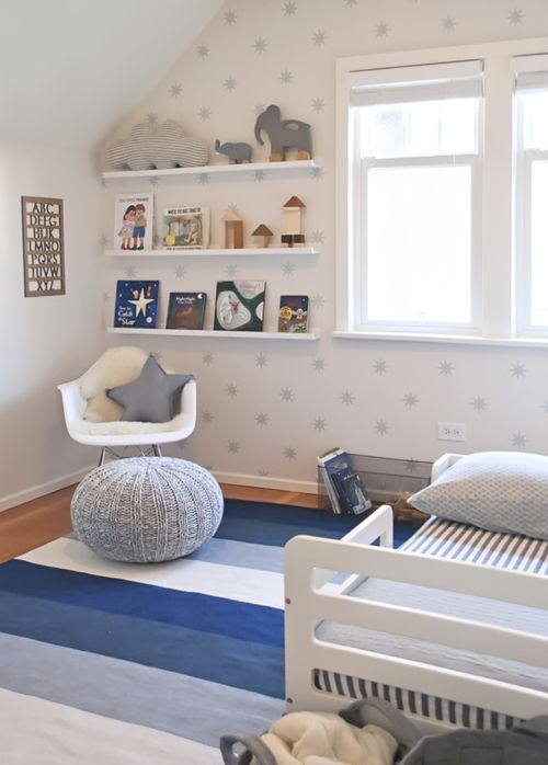 Stars and elephants in a blue, grey and white boys room. Design by Melissa Barling of WINTER DAISY INTERIORS
