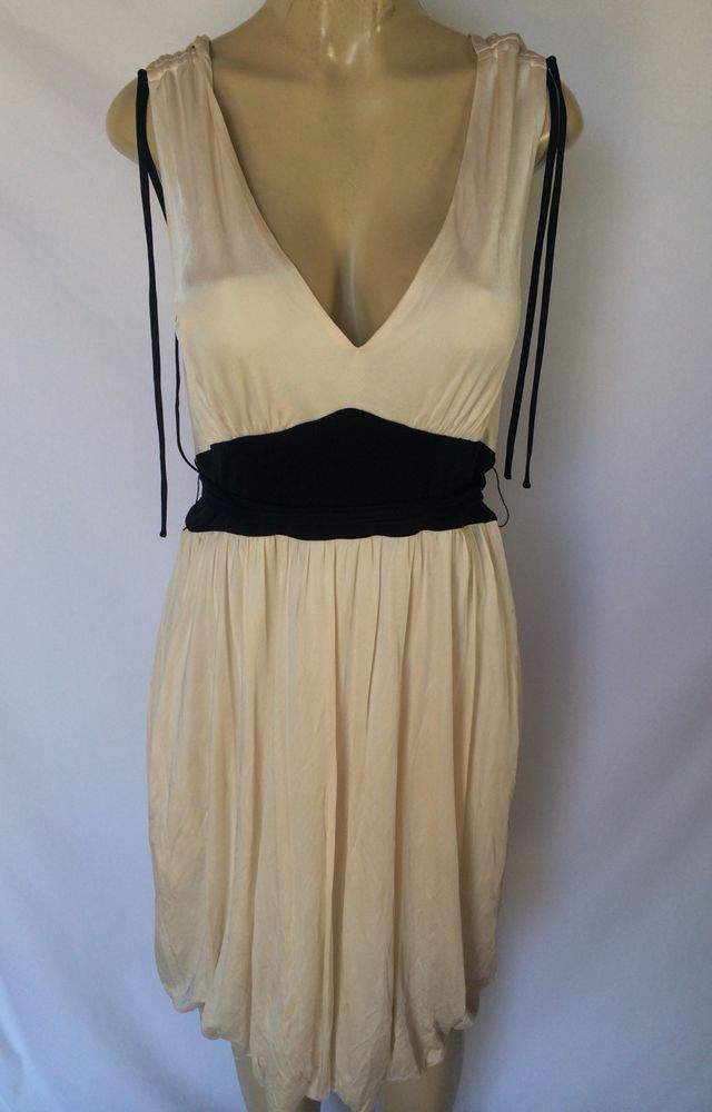 Betsey Johnson Cream Colored Dress With Black Ribbon Tie Sz L  | eBay