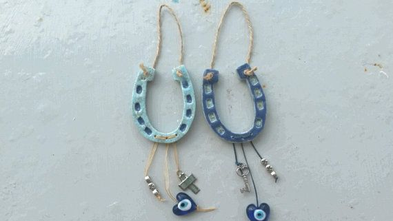 Handmade Greek Ceramic Blue Goodluck Horseshoe by WillyaCollection. See Etsy.