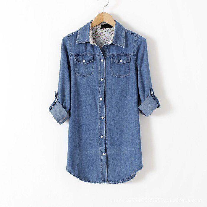 Camisa Jeans Feminina 2015 Women Denim Shirts Blusas Plus Size Tops Camisas Femininas Vintage Body Tunic Blouses Long Sleeve