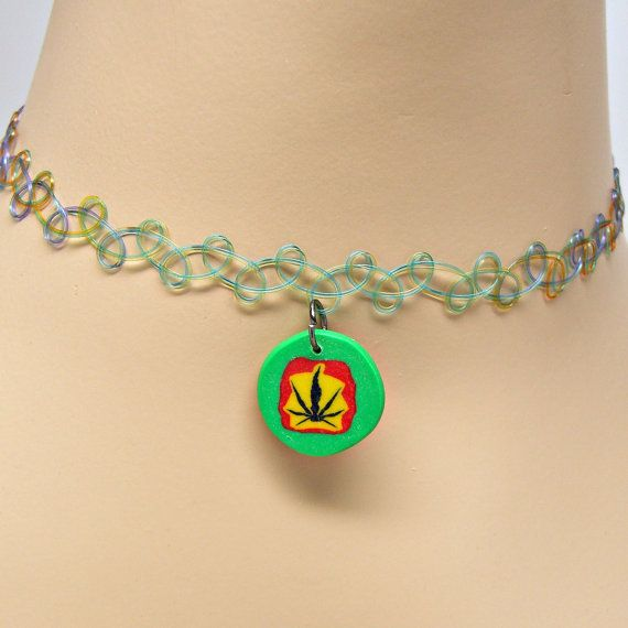 Pot Leaf Marijuana Fimo Pendant in Rasta by GrassShackTrading, $9.00