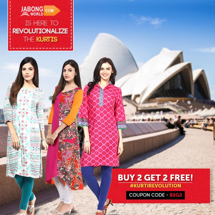 Thank you all for reaching us in masses and being a part of the #KurtiRevolution. The #Buy2Get2Free offer is climbing the charts day by day. The next stop in our journey is AUSTRALIA!!! :D  We're incredibly happy to serve you. Keep shopping- http://www.jabongworld.com/women/kurtis.html?dir=desc&order=bestsellers&utm_source=ViralCurryOrganic&utm_medium=Pinterest&utm_campaign=KurtiRevolution-01-july2015