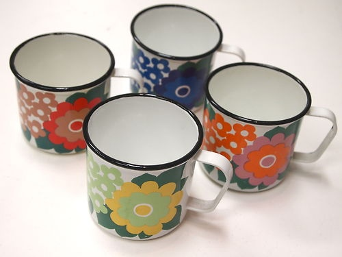 ARABIA FINEL FINLAND ENAMEL 4 mugs 1960s - SUPER RARE SET! | eBay