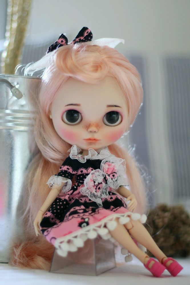 "NEW Custom Neo Blythe Doll 12"" body join 1/6 pink blond Hair with dress OOAK #Blythe #DollswithClothingAccessories"