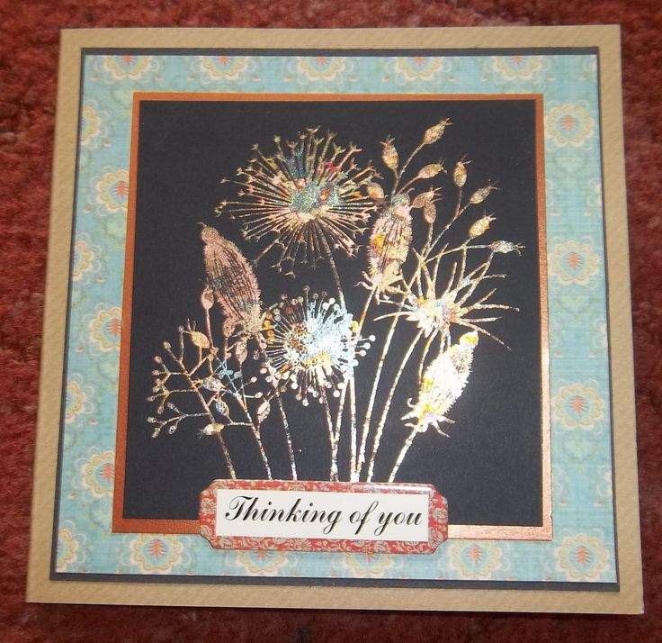 Thinking of you hand made card - Seed head stamp highlighted with gilded flakes