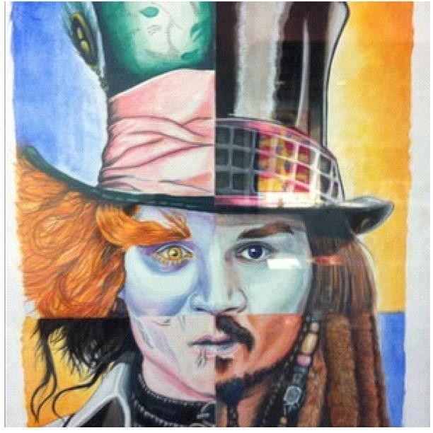 Captain jack sparrow edward scissorhands mad hatter willy wonka just johnny depp cool - Dessin johnny depp ...