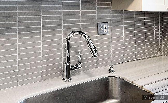 Subway Tile Backsplash | Modern look gray subway marble backsplash tile with espresso kitchen ...