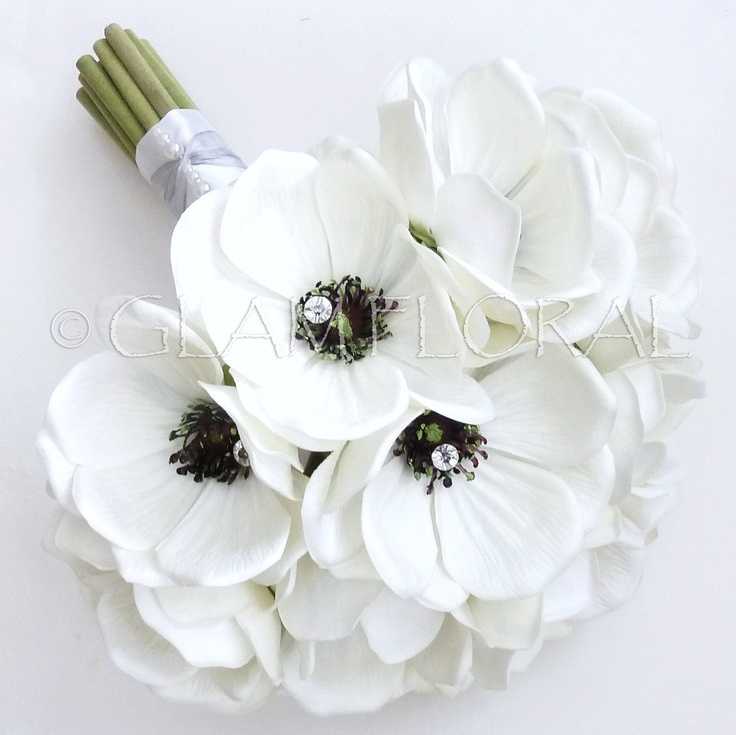 Real Touch Anemone Bridal Bouquet Real Touch Anemones White Cream Black Orchid Purple