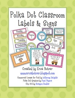Erica Bohrer's First Grade: Polka Dot Classroom Labels and Signs!
