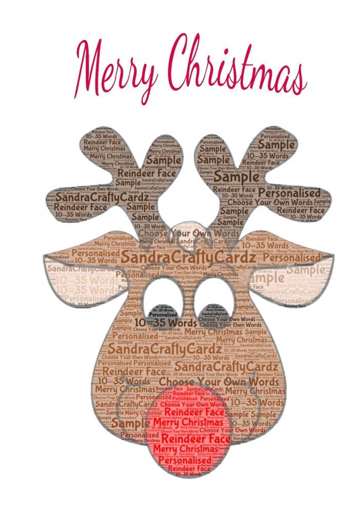 Reindeer Christmas  A5 Greeting Card Personalised with your own words