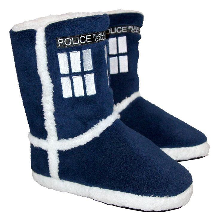 Robe Factory Doctor Who TARDIS Hard Bottom Slipper Boots