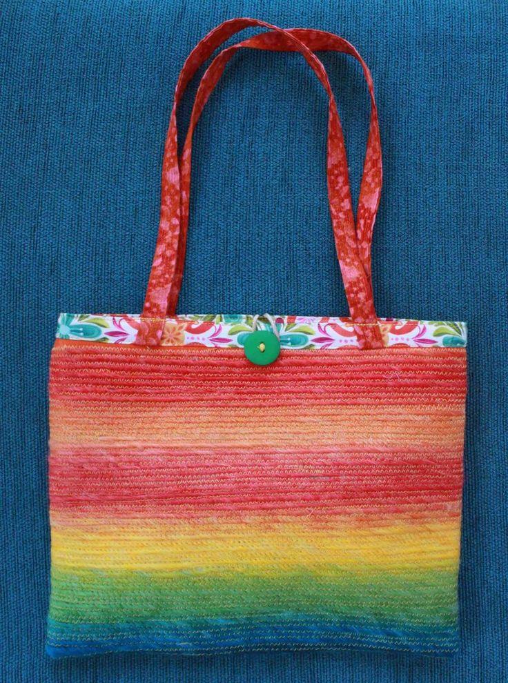 Judy Rogers Textiles Handbag  Textile Wearable Art Fruit stripes $45-