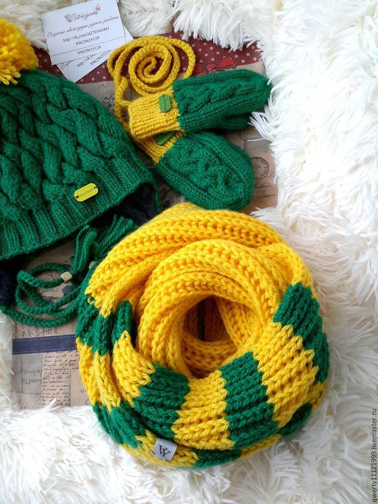 """Купить Комплект зимний """"Green field"""" шапка, снуд, варежки - зеленый, однотонный, шапка"""