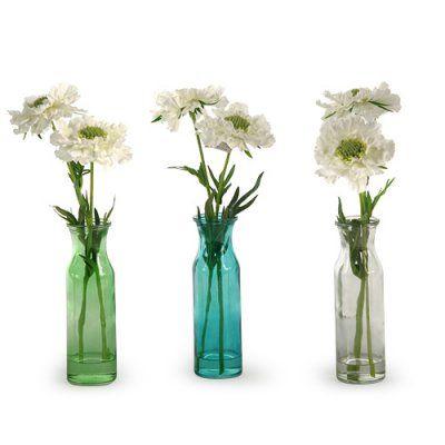 D&W Silks White Scabiosa in Colored Glass Vase - Set of 3 - 164008