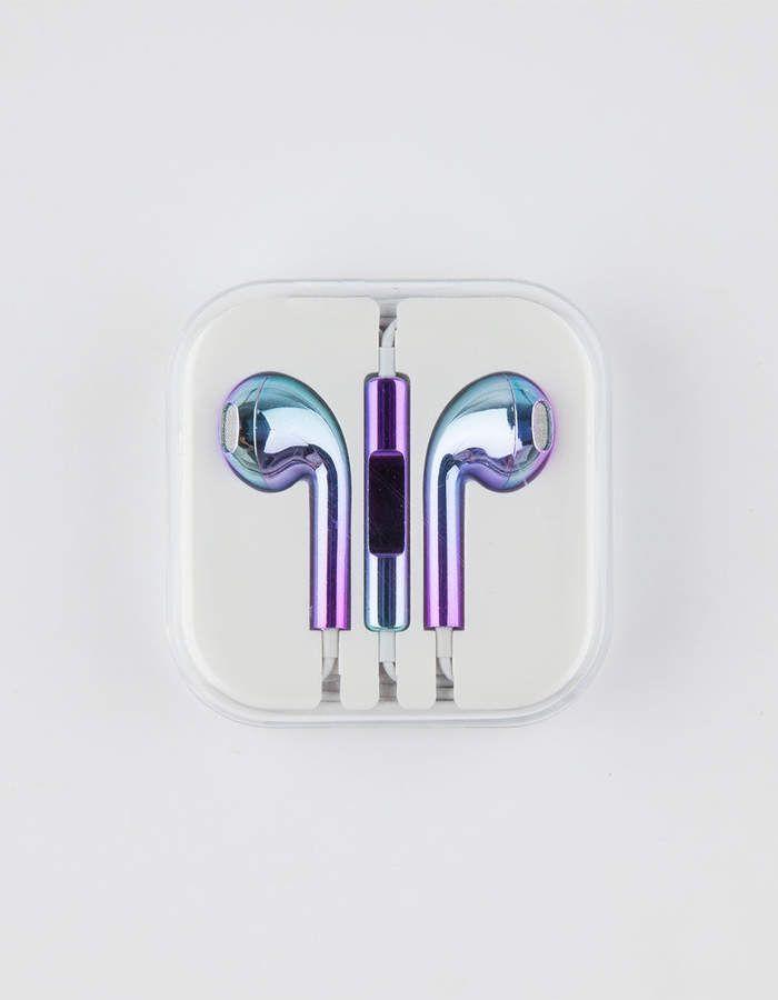 Null Metallic Rainbow Earbuds Iphone Earbuds Earbuds Cute Headphones