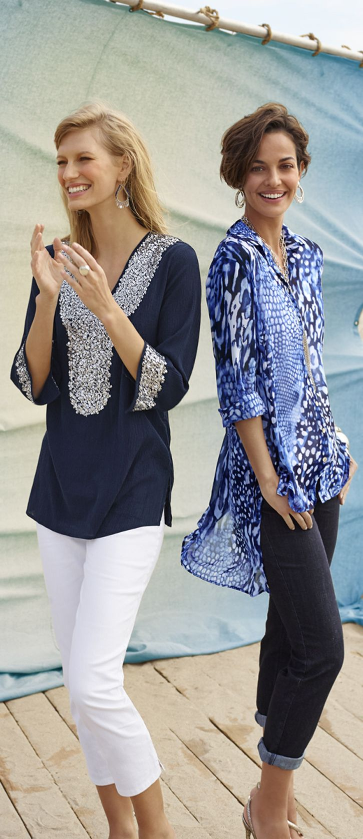 Chicos long over lean. Pair long tops with lean pants to look instantly slimmer (and entirely fabulous). Summer 2014