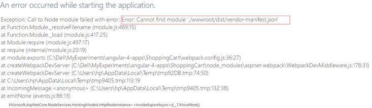 Cannot find module './wwwroot/dist/vendor-manifest.json