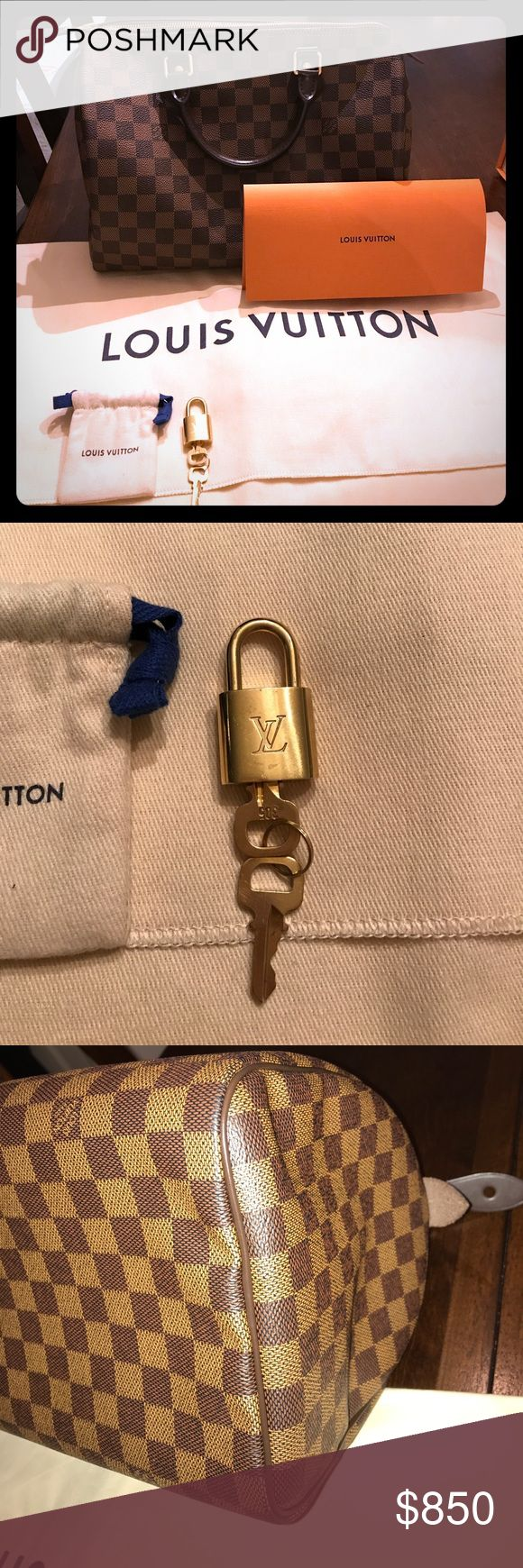Louis Vuitton Damier Ebene Speedy 30 100% Authentic purchased this bag from Louis Vuitton online store in December 2016...this bag comes with receipt, lock and 2 keys, dust bag and original box. It's in excellent condition. Louis Vuitton Bags Satchels