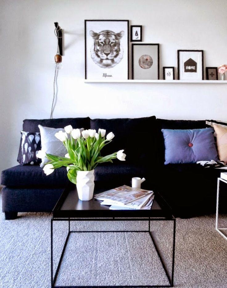 Las 25 mejores ideas sobre sof negro en pinterest for Sofa gris y blanco