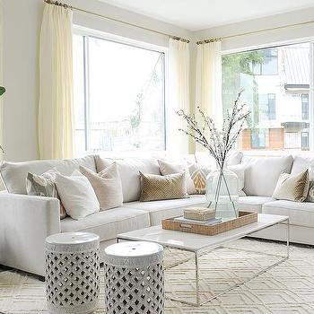 White Sectionals with Accent Marble Top Pillows and Coffee Table on Cream Rug | Kerrisdale Design