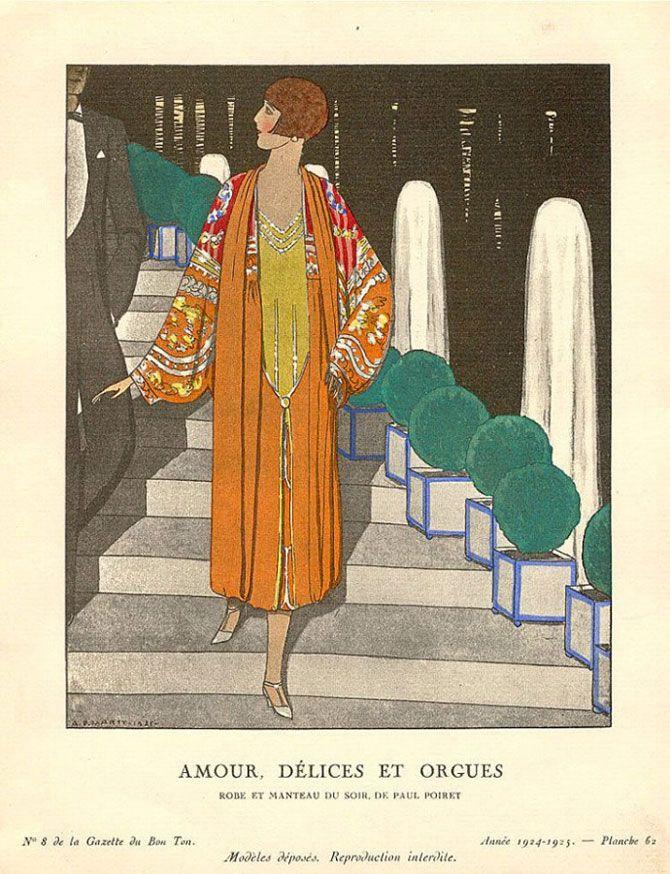 Andre Edouard Marty - Amour, délices et orgues - Robe et manteau du soir de Paul Poiret - 1924-1925