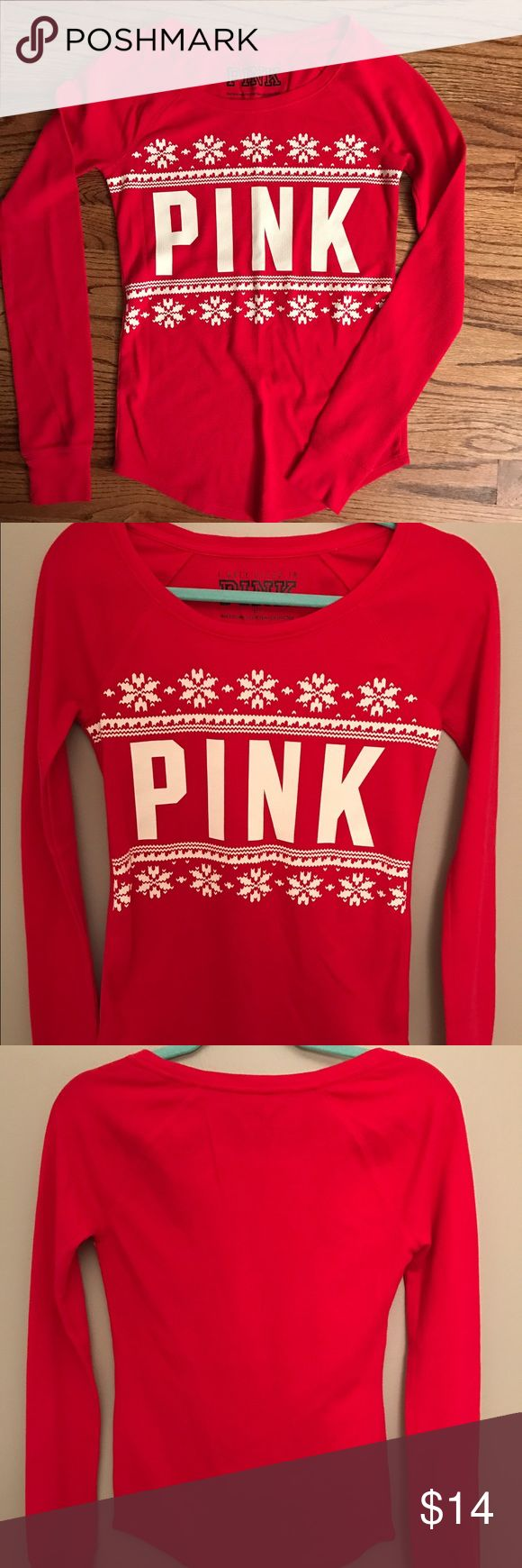 PINK Victoria's Secret red waffle Henley Sz Small Pink Victoria's Secret size small red Henley shirt. Long sleeve. Large font on front in white lettering. Smoke free pet free home PINK Victoria's Secret Tops Tees - Long Sleeve
