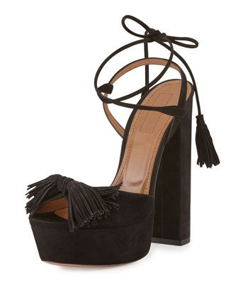 Wild One Tassel Sandal, Black by Aquazzura at Neiman Marcus.