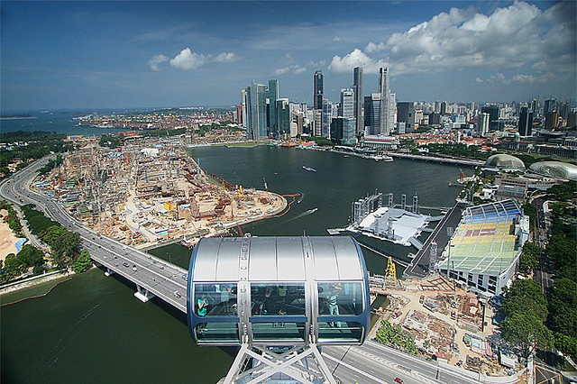 Singapore harbor and skyline from the Singapore Flyer, which is similar to the London Eye