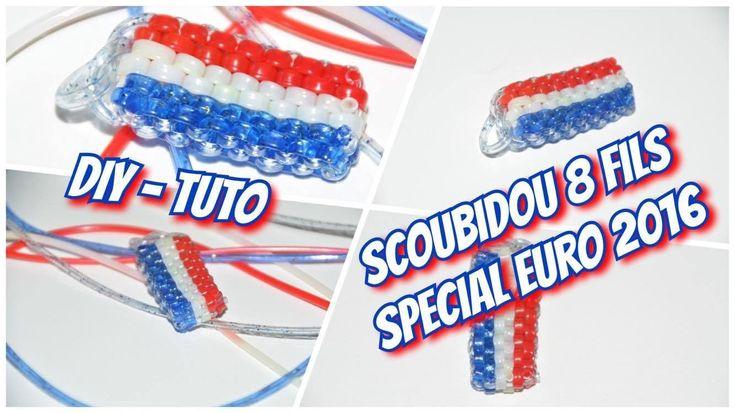 • DIY-Tuto ⎟ Spécial Euro 2016 ⎟ Faire un scoubidou rectangle 8 Fils aux couleurs de la France •