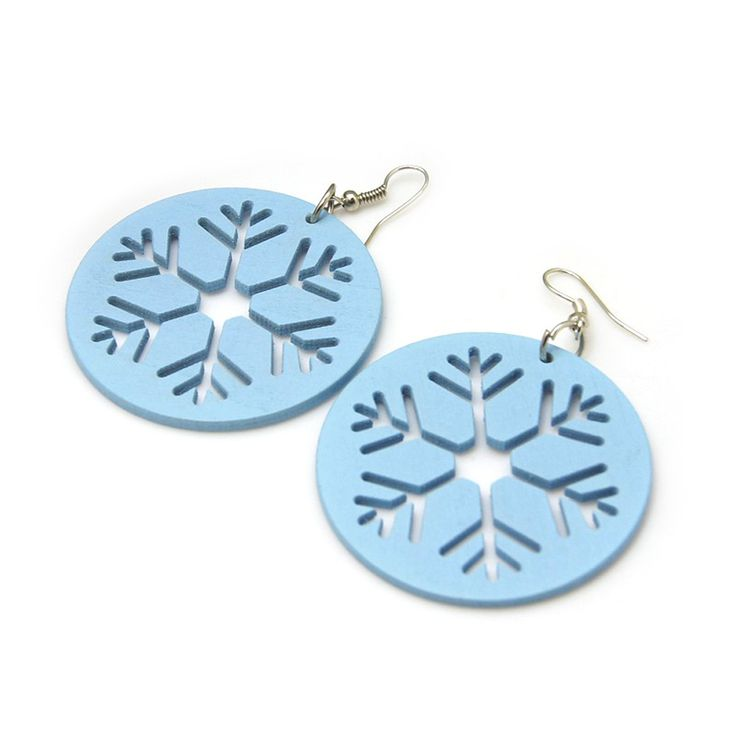 Blue cut out design snowflake wooden drop earrings ideal for Christmas