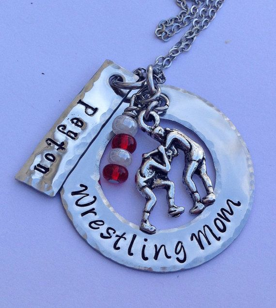 Wrestling Mom or any other Sport Necklace, handstamped and personalized with your child's name