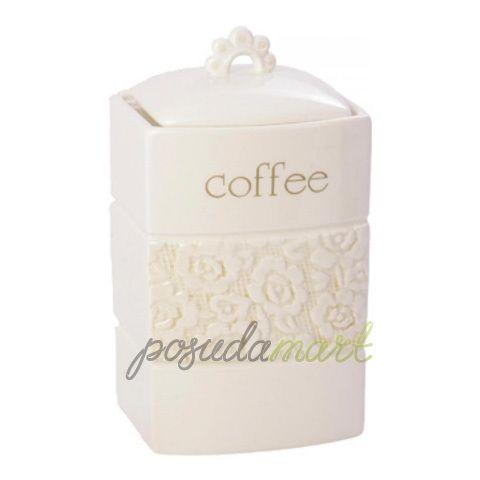 Банка для хранения кофе Georgia, 1 л, керамика, белый, серия Кухонная посуда и аксессуары, Premier
